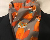Four Fold Stock Tie, Foxhunting Traditional Stock Tie, Horse Show Stock Tie, Red Geek Foxes Designer Cotton Fabric