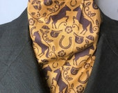 Four Fold Stock Tie, Foxhunting Traditional Stock Tie, Mustard Gold and Brown Horse and Saddle Damask. Designer Fabric.
