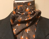 72 or 80 LAST ONES inch Four Fold Stock Tie, Foxhunting Traditional Stock Tie, Soft Brown w Red Foxes Playing, Designer Cotton