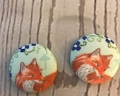 SET OF TWO Fabric covered button magnets gorgeous red fox with mint green and blue - super cute magnets 1 1/8 inch diameter