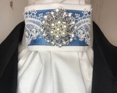 Blue Satin Ribbon with Lace Trim on White Stock Tie Pin Included, Dressage Stock Tie, Eventing Stock Tie, Horse Show