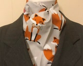 Four Fold Stock Tie Dapper Foxes on Light Beige Foxhunting Traditional Stock Tie Horse Show Unique and Fun!! 73 inch