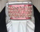 Pink Satin Ribbon and Pearl Beaded Trim, White Cotton Stock Tie, Dressage Stock Tie, Eventing Stock Tie