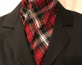 Four Fold Stock Tie, Foxhunting Traditional Stock Tie, Holiday Print Stock Tie, Red Black and Silver Plaid, Christmas Stock Tie