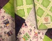 Modern Baby Quilt, Purple and Green Owls Quilt with Lavendar Thread, Gender Neutral Quilt, Crib Quilt, Homemade Quilt, Nursery Handmade