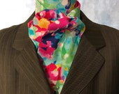 Four Fold Stock Tie, Foxhunting Traditional Stock Tie, Horse Show Stock Tie, Bright Vibrant Floral!