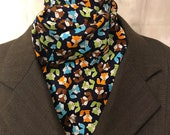 Four Fold Stock Tie, Foxhunting Traditional Stock Tie, Horse Show Stock Tie, Cute Small Colorful Foxes Lime, Aqua, Orange, Brown on Navy