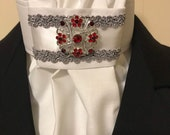 White Satin silver grey braid trim on White Stock Tie, Ruby Red Bling pin or choose different one, Dressage Stock Tie, Eventing Stock Tie
