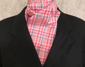 Four Fold Stock Tie, Foxhunting Traditional Stock Tie, Horse Show Stock Tie, Pink Plaid with Navy