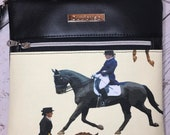 Crossbody bag with dressage equestrian theme. Black faux leather, silver hardware, waterproof canvas lining