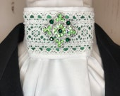 Green Satin Ribbon with Lace Trim on White Stock Tie Pin Included, Dressage Stock Tie, Eventing Stock Tie, Horse Show