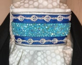 Aqua and Royal Blue with Silver and AB crystals trim on White on White Polka Dot Stock Tie, Dressage Stock Tie, Eventing Stock Tie
