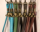 Antique Bronze Keychain with faux leather or vinyl wristlet and antique bronze fox charm, many color options, brown copper green turquoise