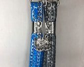 Silver Keychain with faux leather or vinyl wristlet and silver owl charm