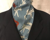 Four Fold Stock Tie, Foxhunting Traditional Stock Tie, Horse Show Stock Tie, Sneaky Foxes on Slate Blue Designer Cotton