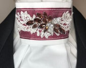 Burgundy Satin Ribbon with Lace Trim and Organza on White Stock Tie Pin Included, Dressage Stock Tie, Eventing Stock Tie, Horse Show