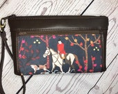 Wristlet purse with front zip pocket, double zipper pouch, foxhunt scene with hounds, chocolate brown soft faux leather, clutch purse