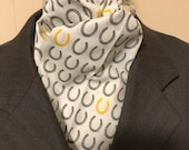 Four Fold Stock Tie, Foxhunting Traditional Stock Tie, Horse Show Stock Tie, Designer Cotton Fabric white with grey and gold horseshoes