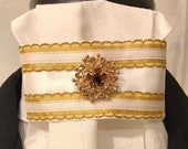Gold metallic trim and gold bling on tone-on-tone White Stock Tie, Dressage Stock Tie, Eventing Stock Tie, Horse Show Tie  - Handmade Unique
