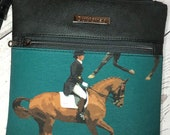 Crossbody bag with dressage equestrian theme. Charcoal Grey faux leather, gunmetal hardware, waterproof canvas lining