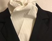 Four Fold Stock Tie, Formal White and Cream Stripe Stock Tie, Traditional Foxhunting Stock Tie