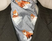 Four Fold Stock Tie, Foxhunting Stock Tie, Traditional Four Fold Stock Tie, Horse Show Stock Tie, Red Foxes on Clouds