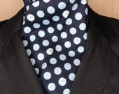 Four Fold Stock Tie, Foxhunting Traditional Stock Tie, Horse Show Stock Tie, tiny blue foxes and dots on navy
