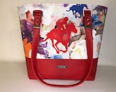Shoulder Handbag Tote with Thoroughbred Racehorses, BRIGHT RED faux leather, colorful horse racing print