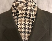 Four Fold Stock Tie, Foxhunting Traditional Stock Tie, Horse Show Stock Tie, Cream Taupe Beige Brown Houndstooth