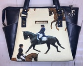 Handbag with dressage equestrian theme fabric cream background and soft navy faux leather. Beige waterproof canvas lining.
