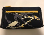 Zipper pouch with front zip pocket, Black and Gold Bird on a flowering tree branch,  Double zipper clutch purse black vinyl faux leather