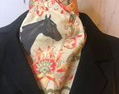 Four Fold Stock Tie, Foxhunting Traditional Stock Tie, Dark Bay Elegant Horse on Yellow with floral damask