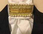 Gold and Pearls White Cotton Stock Tie - You can choose bling pin, Dressage Stock Tie, Eventing Stock Tie, Horse Show Tie