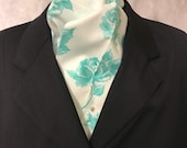 Four Fold Stock Tie, Foxhunting Traditional Stock Tie, Horse Show Stock Tie, Designer Cotton Fabric with Mint Teal Roses Floral