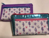 Zipper pouch with front zip pocket, Seahorses and Seashells with Light Blue Mirror and Lavender Rainbow Glitter Vinyl,  Double zipper purse