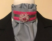 Grey with Bright Pink trim and Silver satin ribbon Stock Tir with Bling pin, Dressage Stock Tie, Eventing Stock Tie, Horse Show Tie, Pre-tie