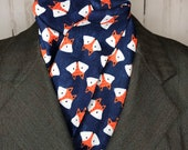 Four Fold Stock Tie, Foxhunting Traditional Stock Tie, Horse Show Stock Tie, super cute fox faces on deep navy blue tonal background