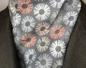 71 inch Four Fold Stock Tie, Foxhunting Stock Tie, Traditional Four Fold Stock Tie, Grey with Coral Pink Beige Modern Pom Poms