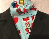 Four Fold Stock Tie, Foxhunting Traditional Stock Tie, Horse Show Stock Tie, Dapper Red Foxes on Aqua - Super Cute!