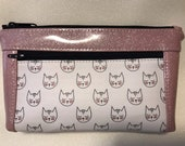 Zipper pouch with front zip pocket, Cat lover cute cats purse with pink Glitter Vinyl,  Double zipper clutch purse