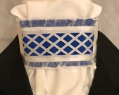 Royal Blue and White Lattice Ribbon on White Cotton Stock Tie, Dressage Stock Tie, Eventing Stock Tie, Horse Show Tie, Handmade Unique
