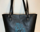 Shoulder Handbag Tote with sketched galloping horse embroidered in aqua on Black Faux Leather