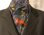 Four Fold Stock Tie, Foxhunting Stock Tie, Traditional Four Fold Stock Tie, Horse Show Stock Tie, Foxes in the Forest Dusk Grey