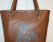 Shoulder Handbag Tote with aqua embroidered sketched horse on caramel brown faux leather