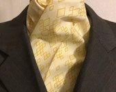 Four Fold Stock Tie, Foxhunting Traditional Stock Tie, Horse Show Stock Tie, Yellow Diamond Pattern