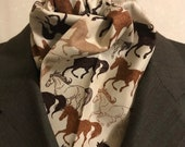 70 inch Four Fold Stock Tie, Foxhunting Traditional Stock Tie, Horse Show Stock Tie, Wild Horses Neutral Tones brown beige