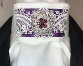 Purple Satin Ribbon with Lace Trim on White Stock Tie Pin Included, Dressage Stock Tie, Eventing Stock Tie, Horse Show