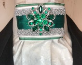 Emerald Green Satin Ribbon w Trim on White and Grey Metallic Cotton Stock Tie Pin Included, Dressage Stock Tie, Eventing Stock Tie