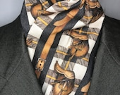 72 or 78 inch Four Fold Stock Tie, Foxhunting Traditional Stock Tie, Equestrian tack English Saddle on plaid four fold stock