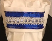 Royal Blue beading and ribbon with white trim and White on White Cotton Tie, Dressage Stock Tie, Eventing Stock Tie, Horse Show Tie